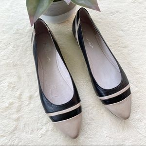 Chocolat Blu Grace Pointed Toe black Leather Flats